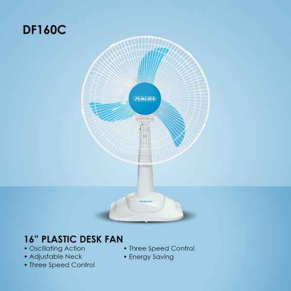 Fukuda DF160C 16″ Plastic Desk Fan