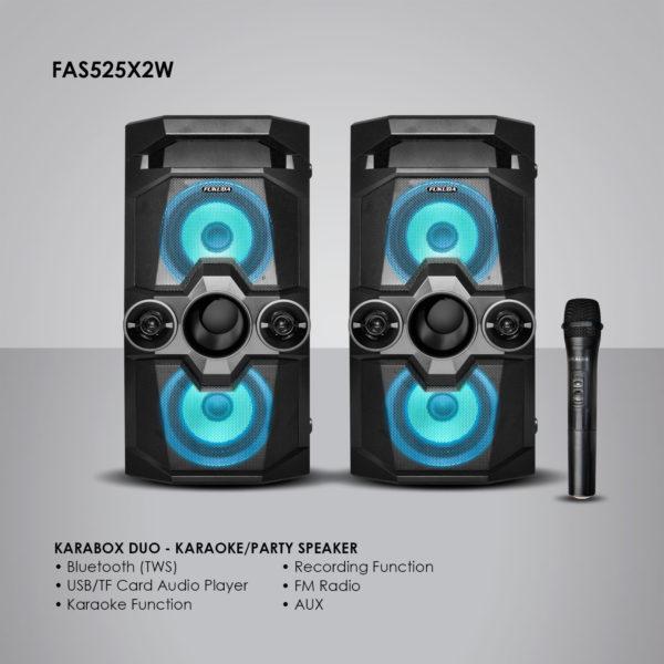 Fukuda FAS525x2W KARAboxDUO Karaoke/Party Speaker 15Wx2 RMS