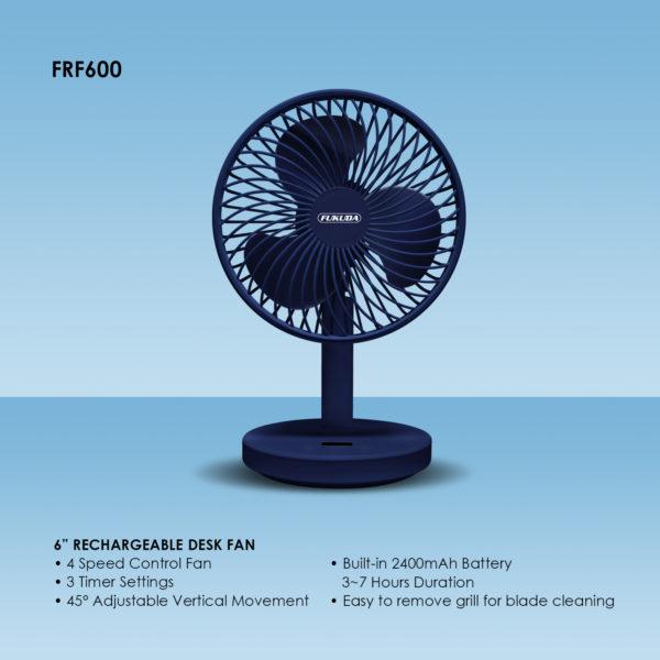"""Fukuda FRF600 6"""" Rachargeable Desk Fan"""